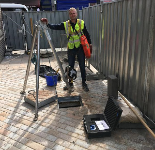 Drain survey at construction site at Deptford High Street, Greenwich SE8